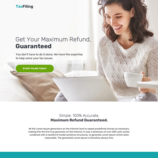 minimal tax filing bootstrap landing page design Tax example