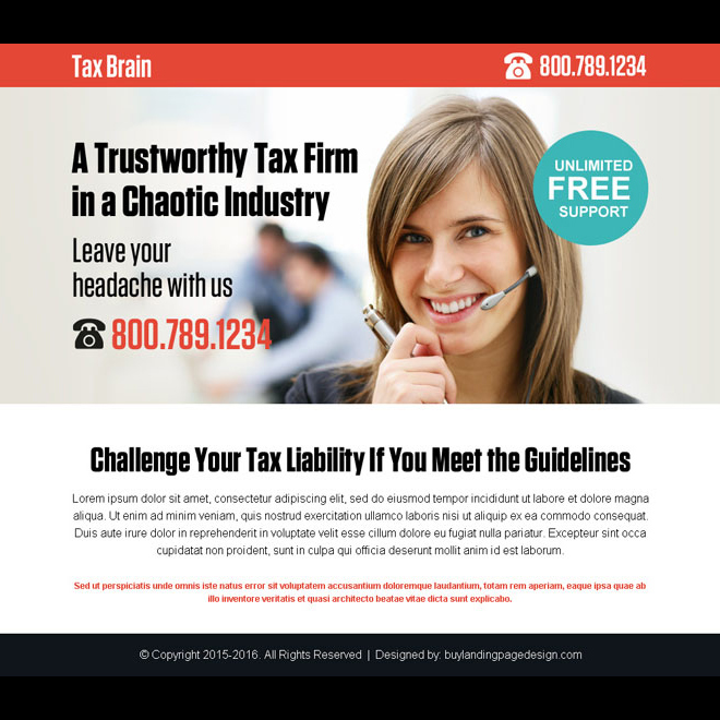 tax firm for all tax services call to action ppv landing page design Tax example