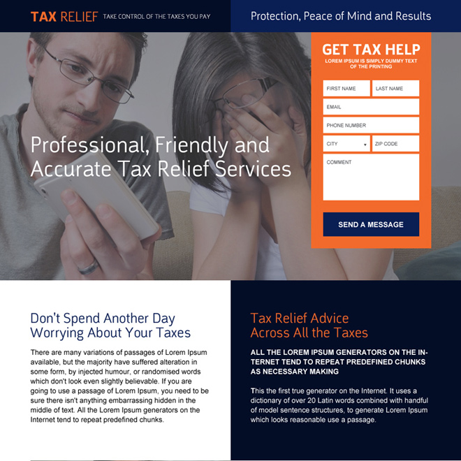 professional lead capturing tax relief landing page design Tax example