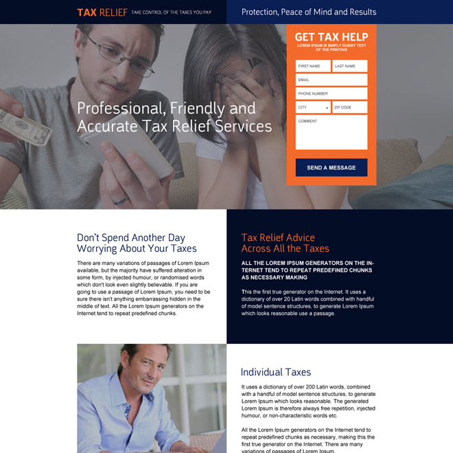 responsive tax relief service landing page design Tax example