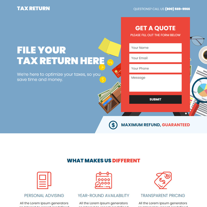 tax return free quote lead capture responsive landing page design Tax example