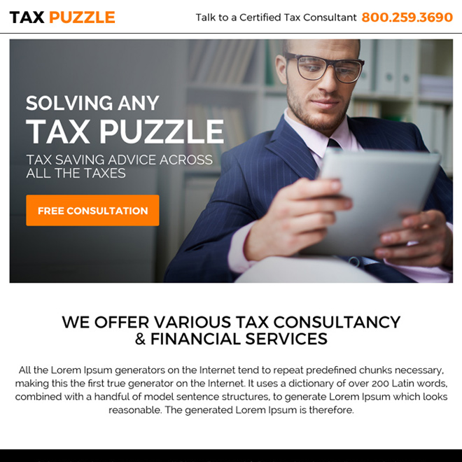 tax saving free consultation ppv landing page design Tax example