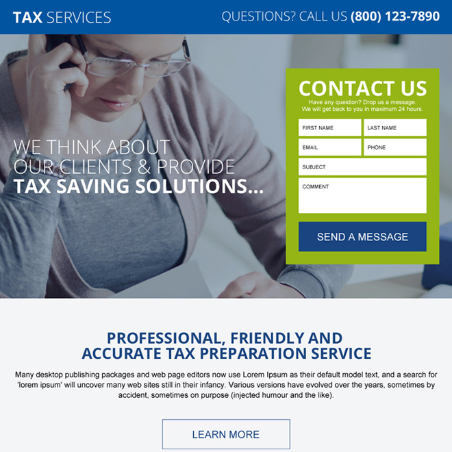 tax saving service and solution lead generating lading page Tax example