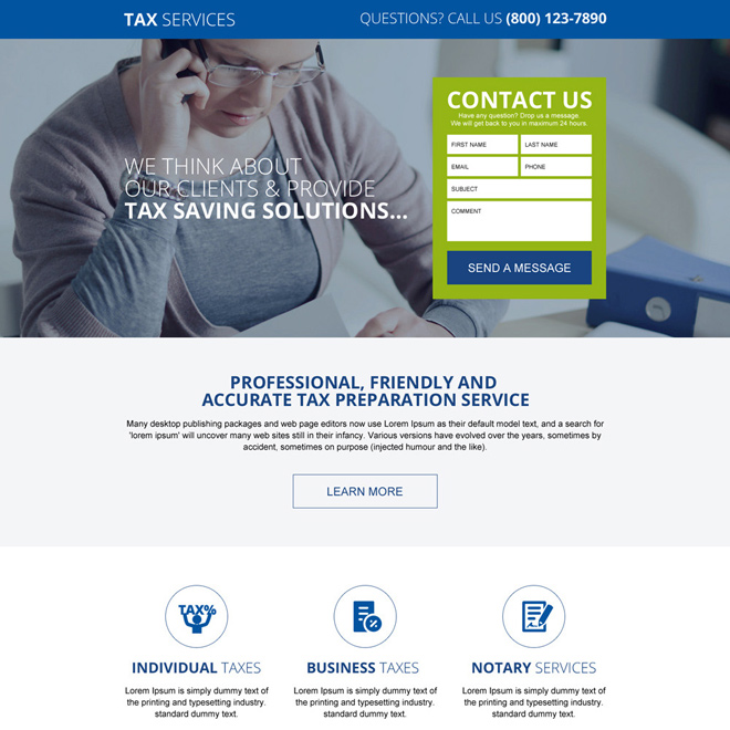 responsive tax saving service landing page design template Tax example