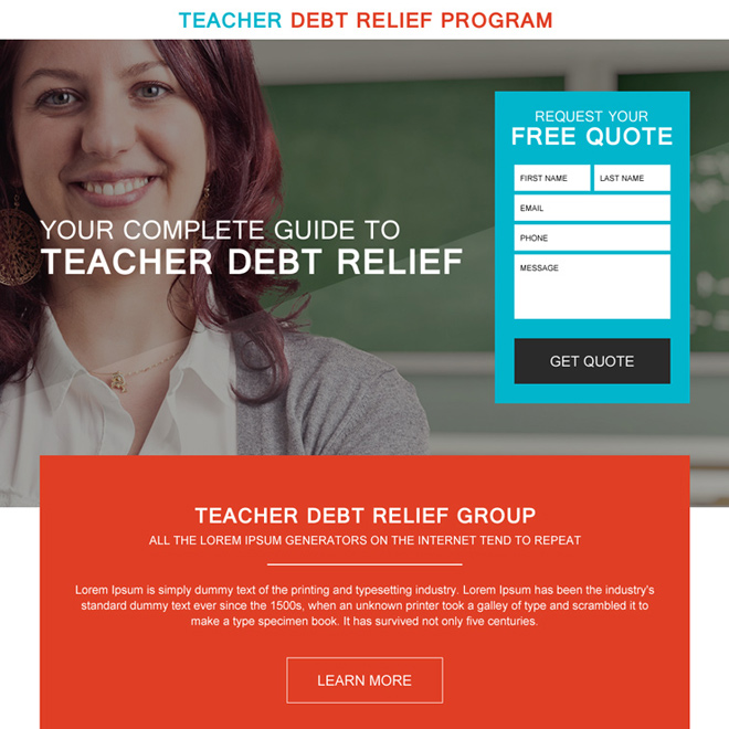 teacher debt relief program free quote landing page design Debt example