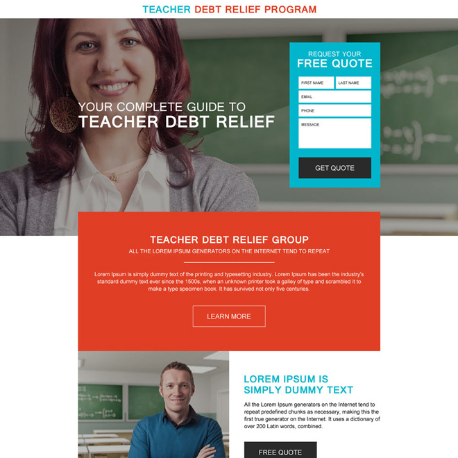 responsive teachers debt relief program landing page Debt example