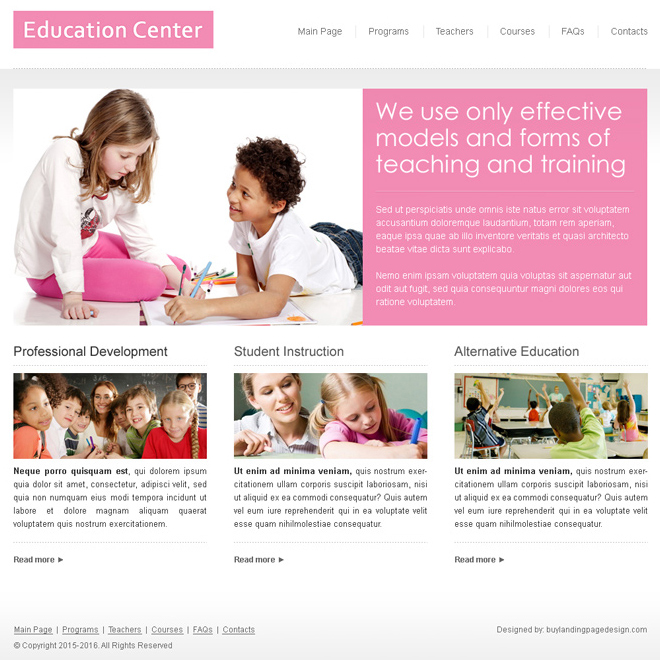 clean and minimal education website template design Website Template PSD example