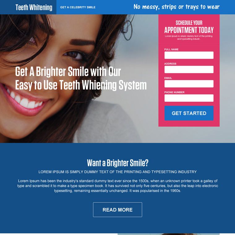 teeth whitening appointment capturing landing page design Teeth Whitening example
