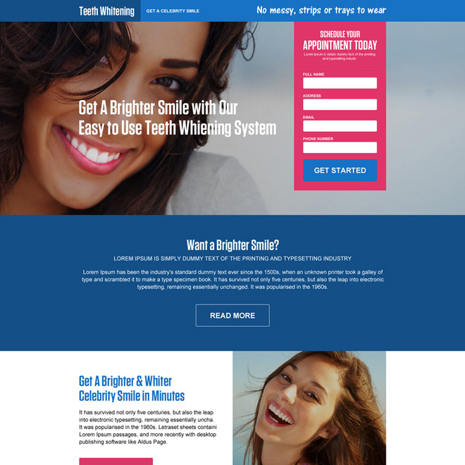 teeth whitening appointment responsive landing page Teeth Whitening example