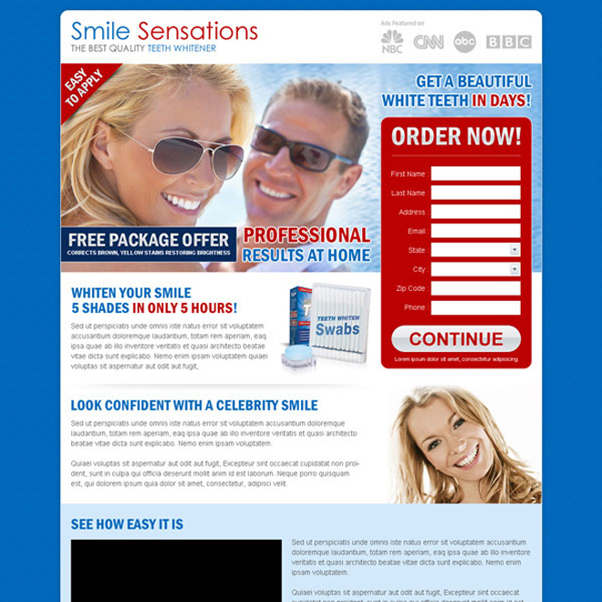 teeth whitening product free package offer order lead capture page Teeth Whitening example