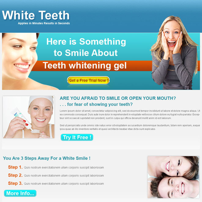 teeth whitening click through landing page design for sale Teeth Whitening example