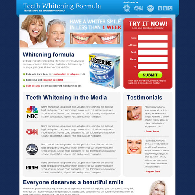 teeth whitening formula lead capture user friendly and effective squeeze page design Teeth Whitening example