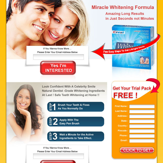 clean and converting teeth whitening product lead capture landing page design for sale Teeth Whitening example