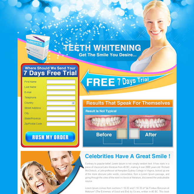 teeth whitening free trial offer lead capture landing page design for sale Teeth Whitening example