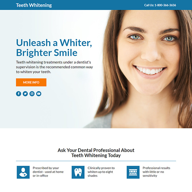 teeth whitening treatment responsive funnel design Teeth Whitening example