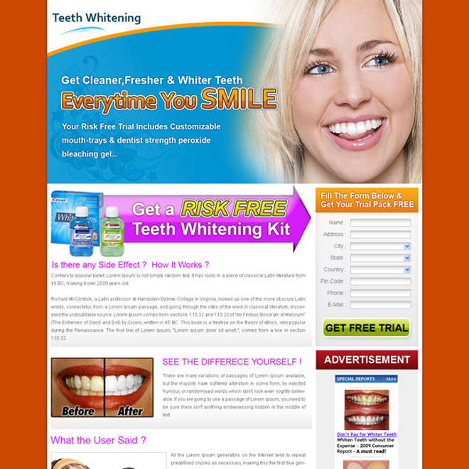 clean and minimal looking teeth whitening landing page design for sale Teeth Whitening example
