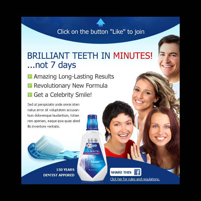 teeth whitening product effective and appealing facebook fan page design template PPV Landing Page example