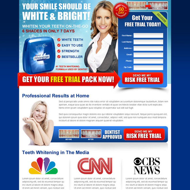 white and bright trial lead capture teeth whitening landing page design Teeth Whitening example