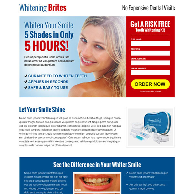 clean and converting lead capture squeeze page design for teeth whitening product Teeth Whitening example