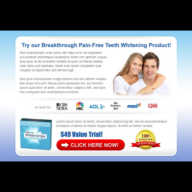 converting and clean teeth whitening ppv landing page design template Teeth Whitening example