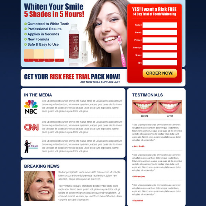 whiten your smile risk free trial kit lead capture html landing page design Teeth Whitening example