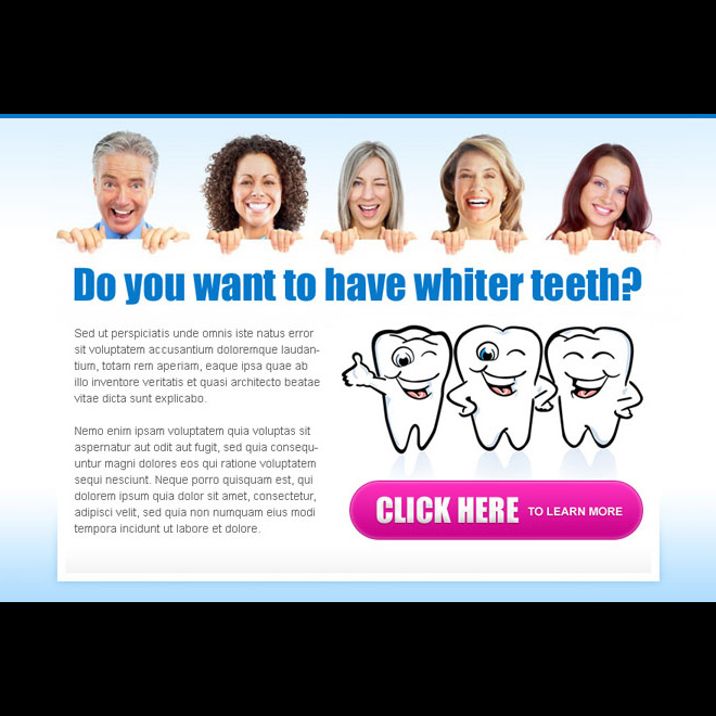 want to have whiter teeth call to action attractive and appealing ppv landing page design Teeth Whitening example