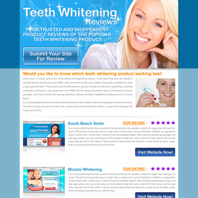 teeth whitening top 3 website review html landing page design Review Type example