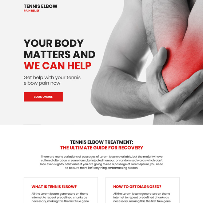 tennis elbow pain relief responsive landing page Pain Relief example