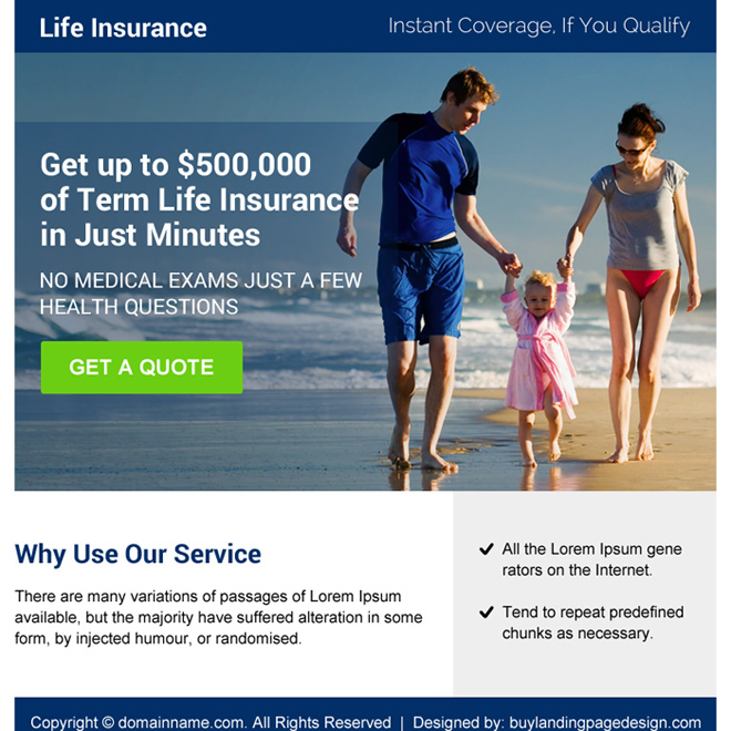 life insurance coverage quote ppv landing page Life Insurance example
