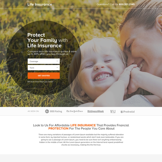 term life insurance quote clean landing page design Life Insurance example