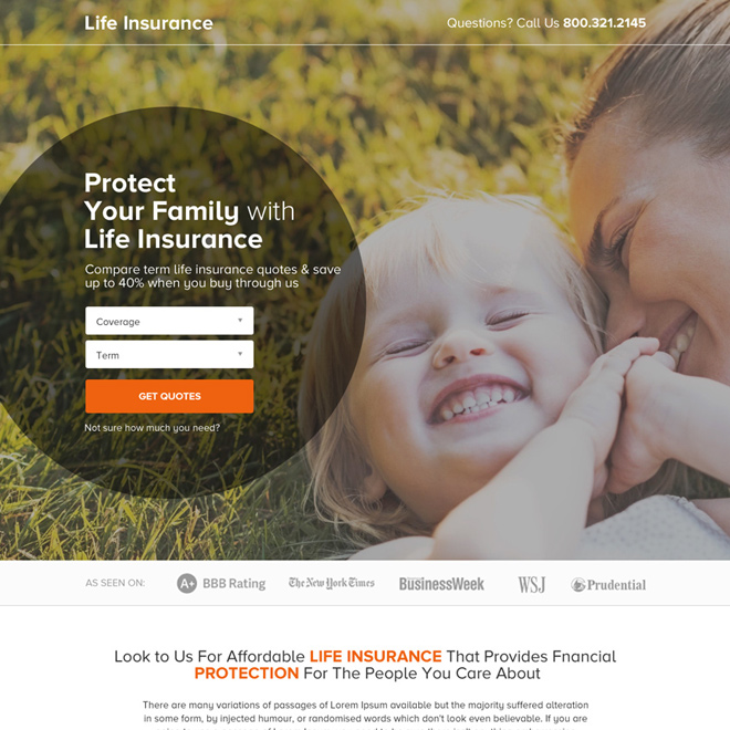 life insurance small lead form responsive landing page Life Insurance example