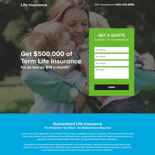 term life insurance lead capture responsive landing page design Life Insurance example