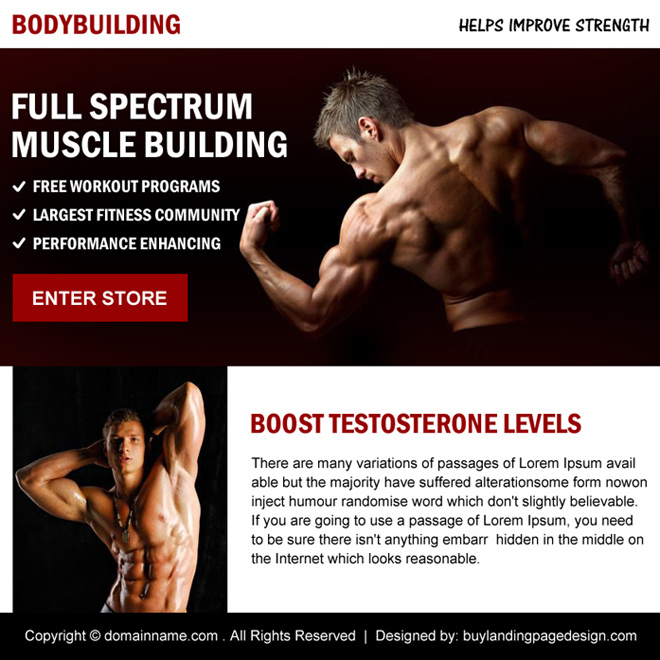 muscle building minimal ppv landing page design Bodybuilding example
