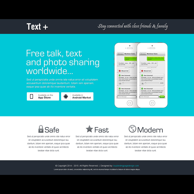 free talk text and photo sharing worldwide application landing page App Landing Page example