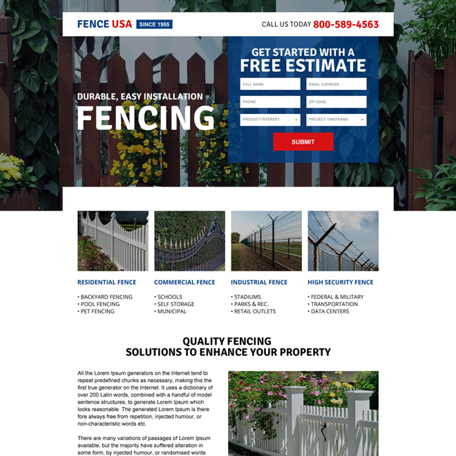 quality fencing solutions mini landing page design Fencing example