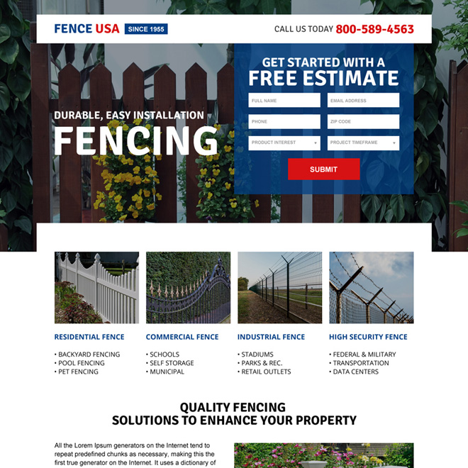 responsive american fencing company landing page design Fencing example