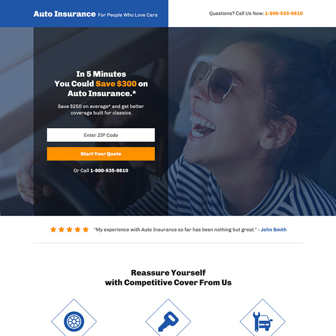 auto insurance coverage bootstrap landing page Auto Insurance example