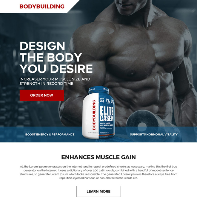 bodybuilding product selling responsive landing page design Bodybuilding example