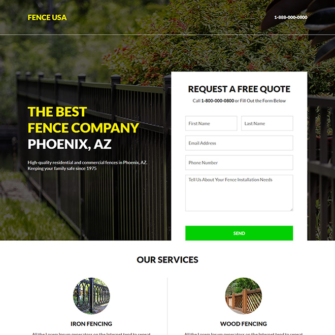 best fencing company responsive landing page design Fencing example