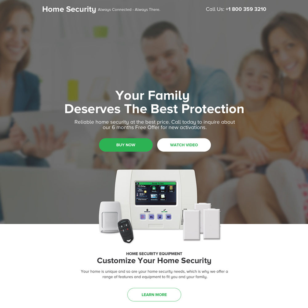 security device selling modern landing page design Security example