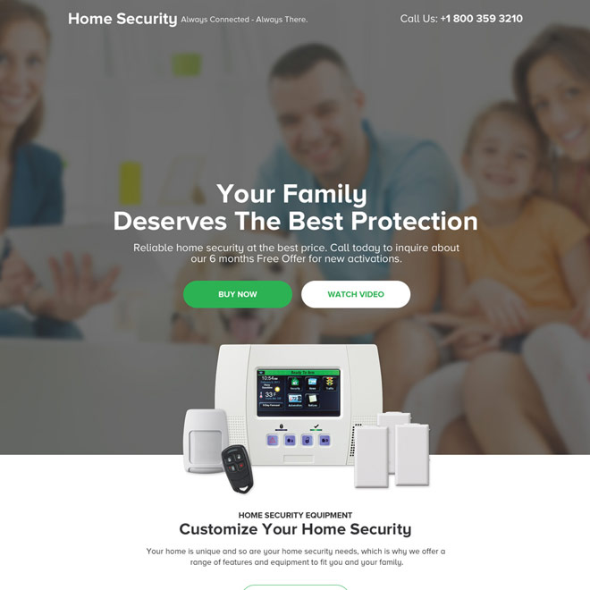 security device selling responsive landing page design Security example