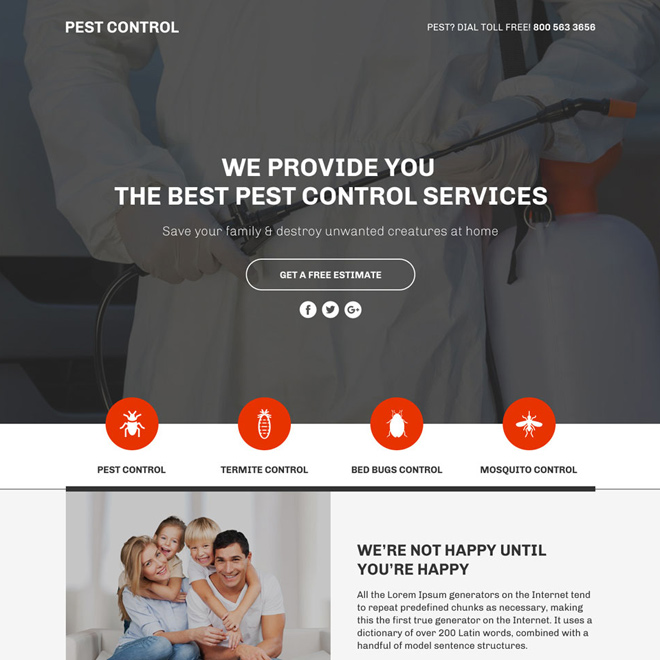 pest control service responsive funnel page design Pest Control example