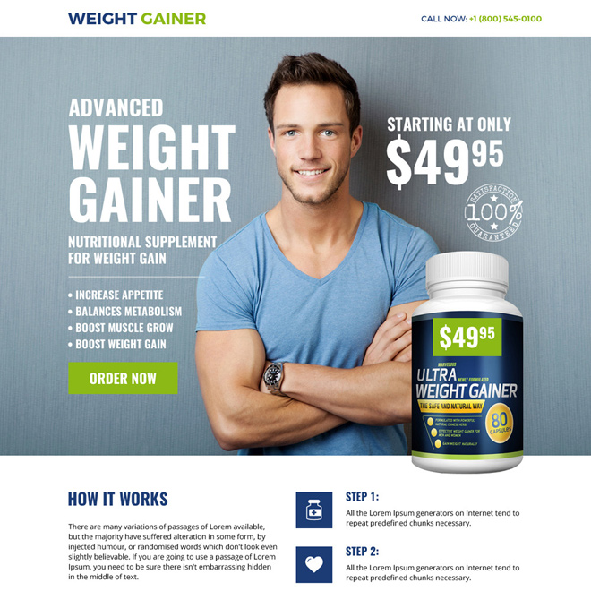 weight gain supplement selling bootstrap landing page Weight Gain example