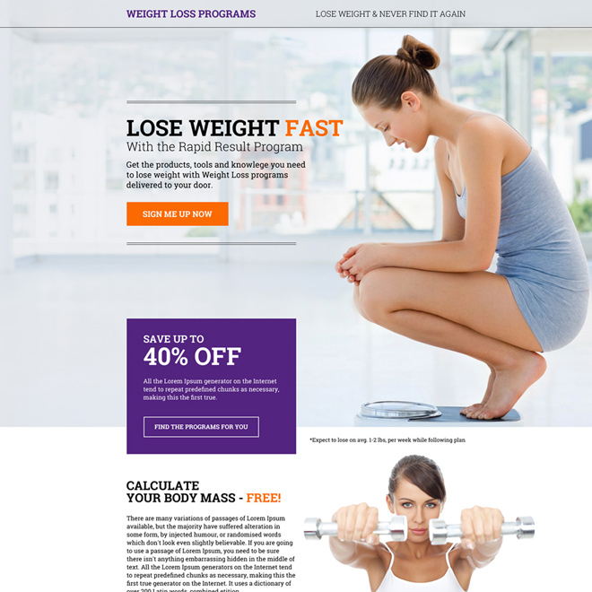 weight loss programs sign up capturing modern landing page design Weight Loss example