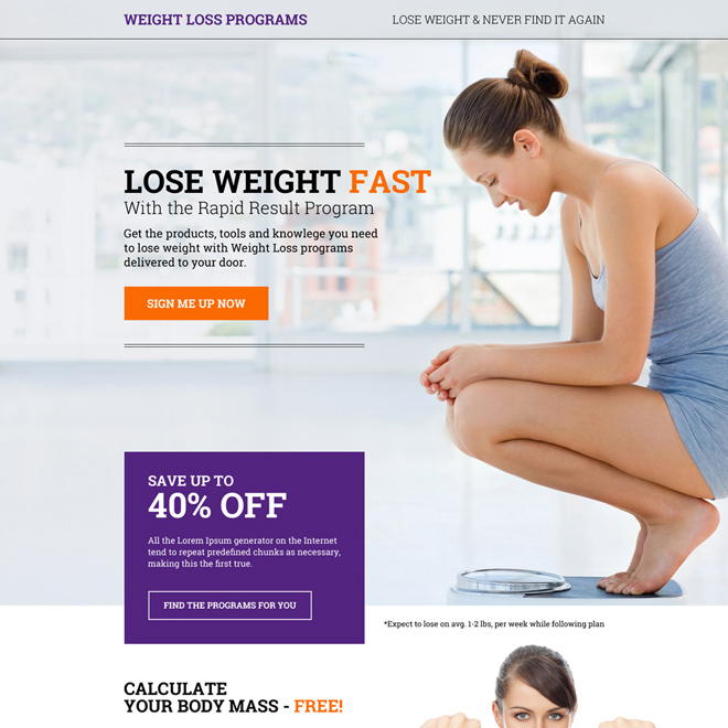 eye catching weight loss program sign up capturing responsive landing page design Weight Loss example