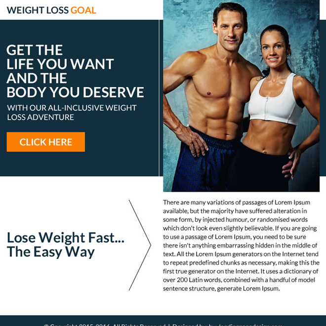 weight loss goal call to action ppv landing page Weight Loss example