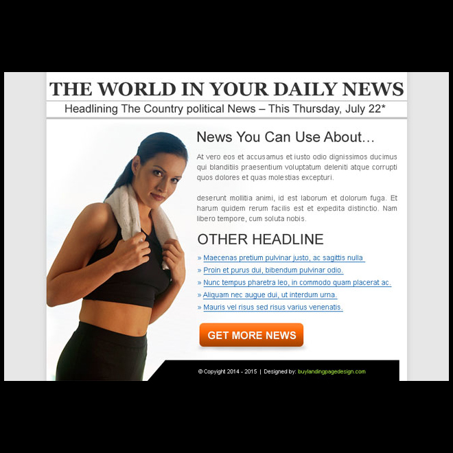 the world daily news clean and effective ppv landing page Miscellaneous example