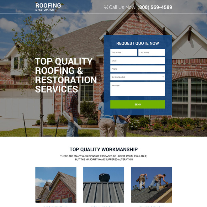 top quality roofing and restoration responsive landing page Roofing example