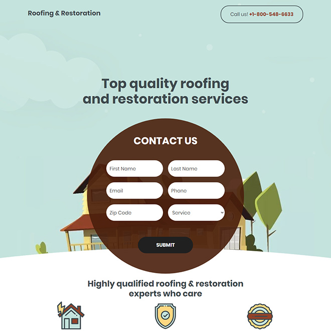 roofing and restoration service responsive landing page design Roofing example