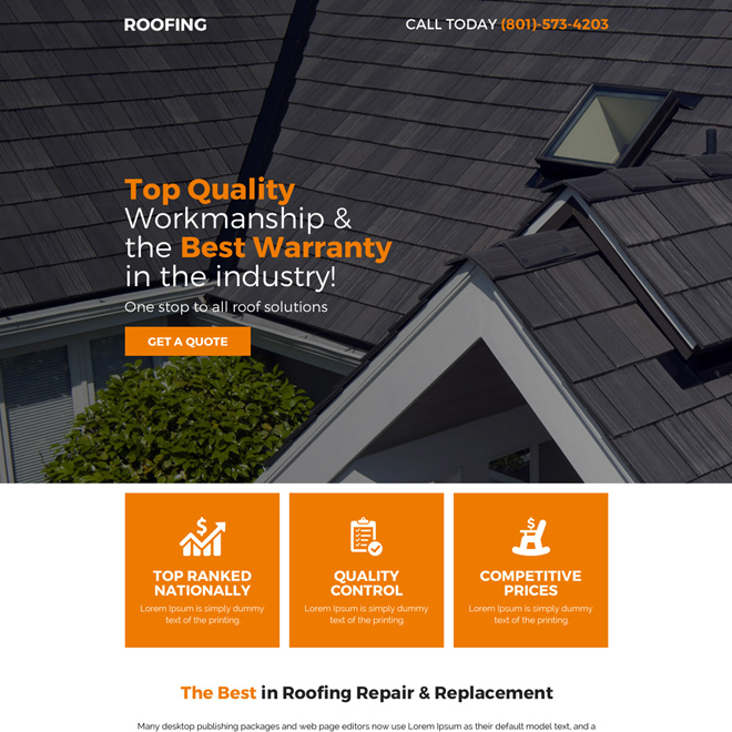 roofing repair and replacement service premium lead capturing landing page Roofing example